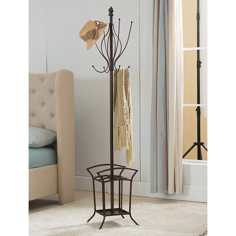 K & B Furniture Metal Coat Rack with Umbrella Stand - 69H in.