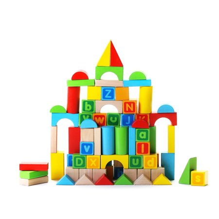 Alphabet Wooden Building Blocks Set Brightly Colored Educational 80 Pc Stacking Block Set For Toddlers Kids Age 2 3 4 Made From Durable