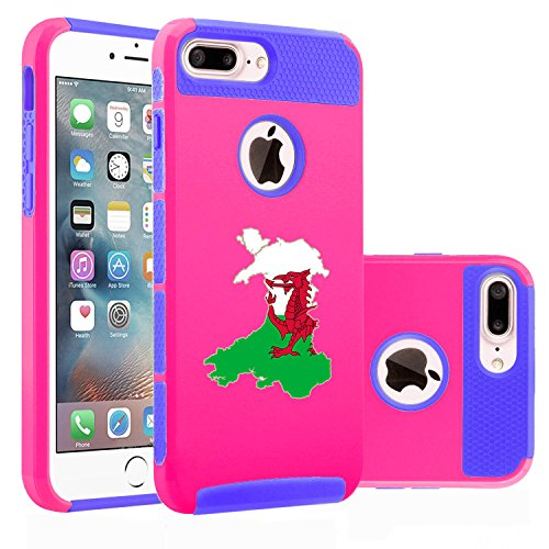 For Apple (iPhone 8 Plus) Shockproof Impact Hard Soft Case Cover Wales Welsh...