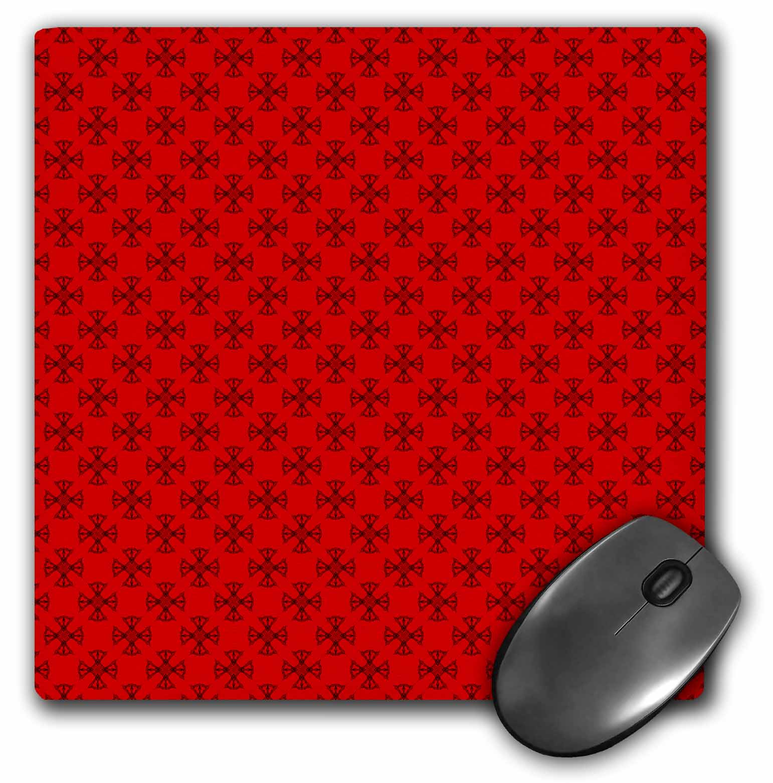 3dRose Red Fan Point Stars Pattern, Mouse Pad, 8 by 8 inches