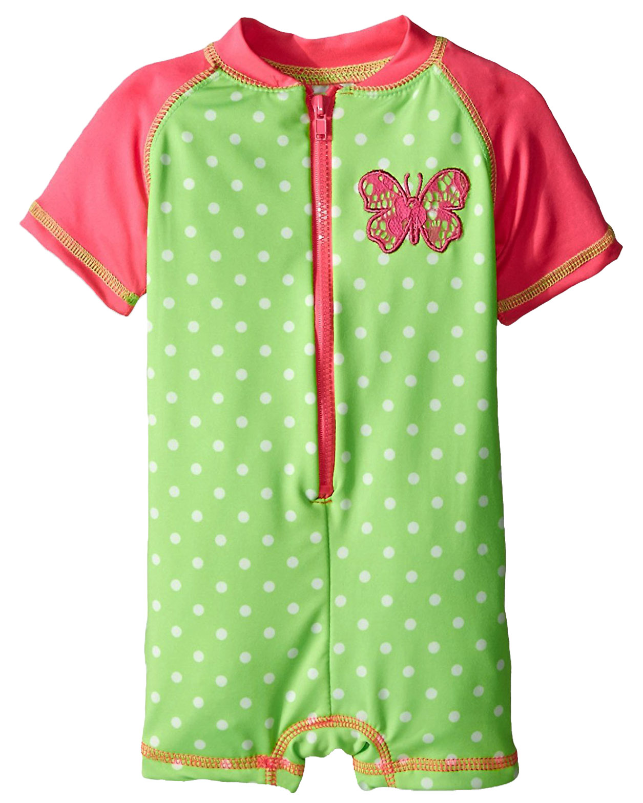 Wippette Baby Girls Butterfly with Polka Dots Swim Once Piece Rashguard