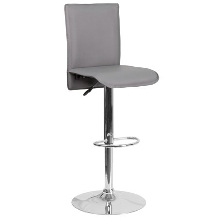 Lancaster Home Contemporary Vinyl Adjustable Height Swivel Bar Stool with Chrome Base