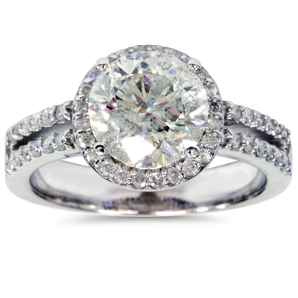 3 1/2 Carat Enhanced Diamond Halo Engagement Ring 14K White Gold