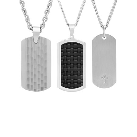 Mens Multi-Finish Stainless Steel 3pc. Diamond Accent Dog Tag Gift Set