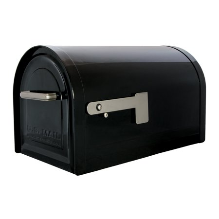 Gibraltar Mailboxes Reliant Locking Large Capacity Galvanized Steel Black Post Mount Mailbox,