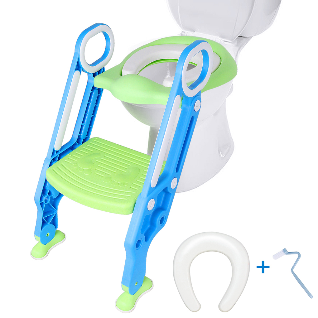 Baby Toilet Seat Trainer Baby Training Toilet Safety Seat Chair with Adjustable Ladder Infant Toilet Training Non-slip Folding Seat+Cleaning Brush