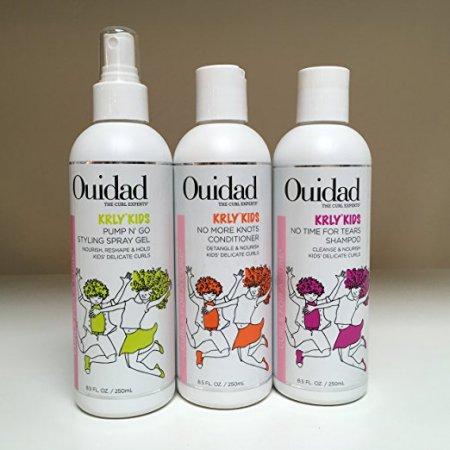 Ouidad KRLY KIDS No Time for Tears Shampoo & No More Knots Conditioner & Pump N Go Styling Spray Gel 8.5oz TRIO SET