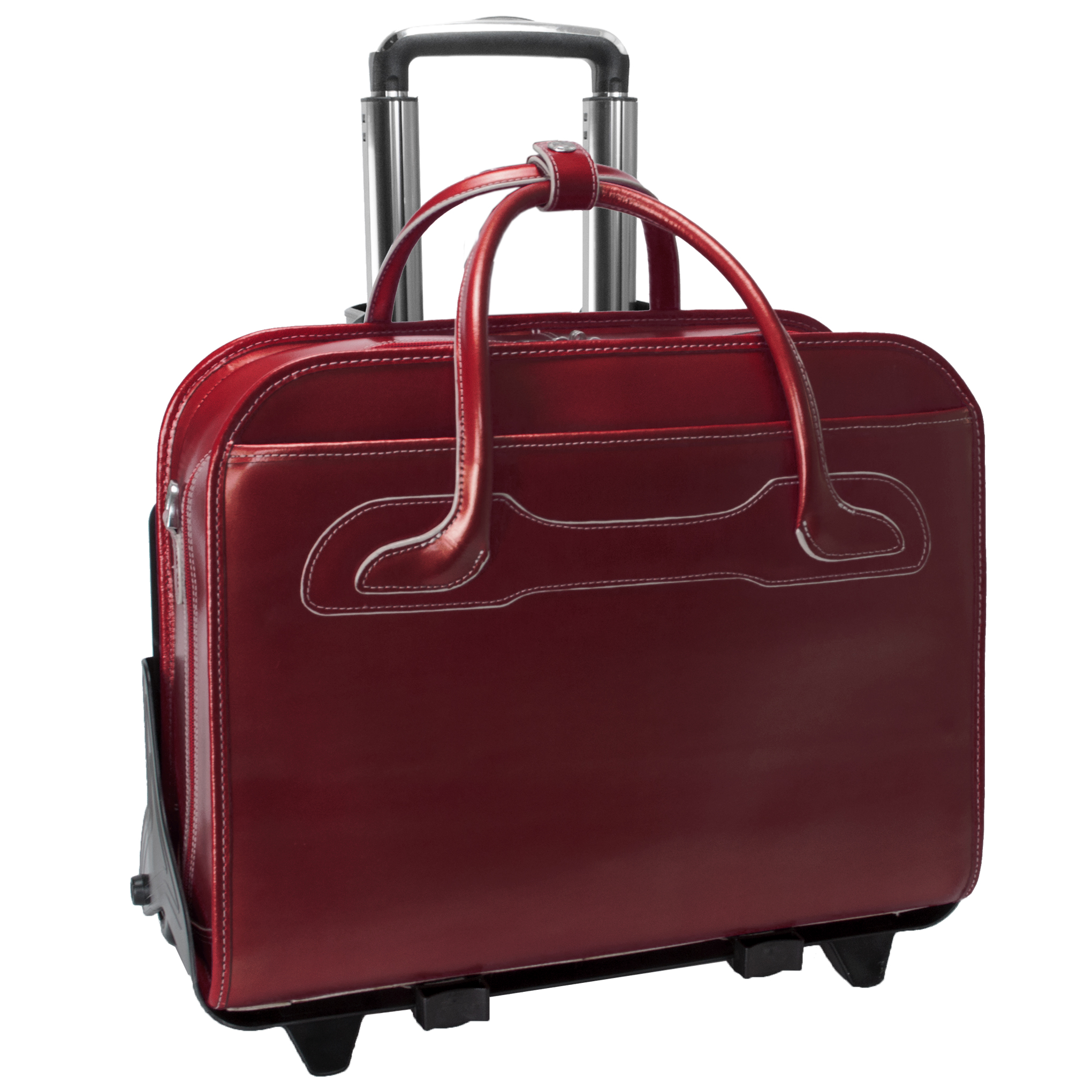 McKlein WILLOWBROOK, Patented Detachable -Wheeled Ladies' Laptop Briefcase, Top Grain Cowhide Leather, Red (94986)