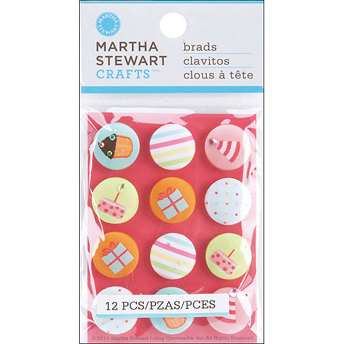 Martha Stewart Modern Festive Fabric Brads, 12pk