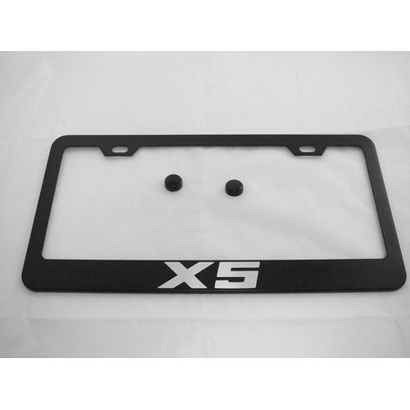 BMW X5 Black License Plate Frame with Caps, By None ()