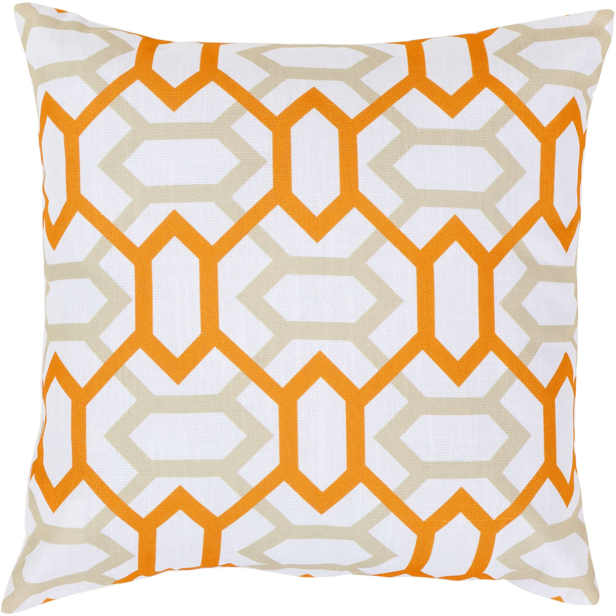 Art of Knot Carlisle Hand Crafted Gateway Pattern Decorative Pillow with Poly Filler, Tangerine