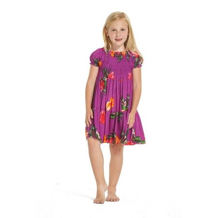 Girl Hawaiian Short Sleeve Elastic Top Dress in Purple Floral Size - Hawaiian Shirts For Girls