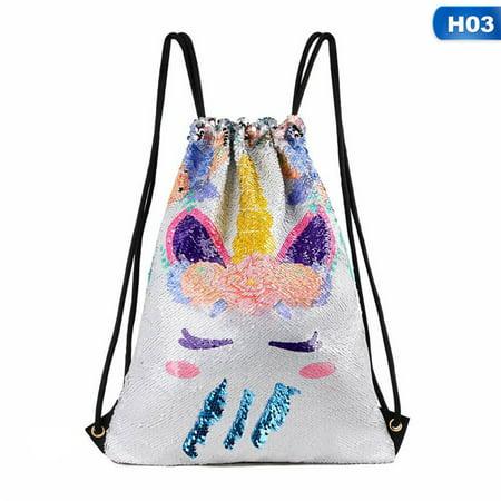 AkoaDa Womens Girls Unicorn Sequin Backpack Travel Drawstring Bag Rucksack Magic