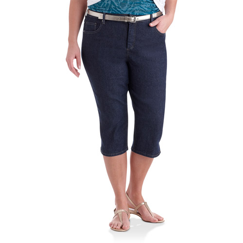 Just My Size - Women's Plus-Size Classic 5-Pocket Denim Capri Pants