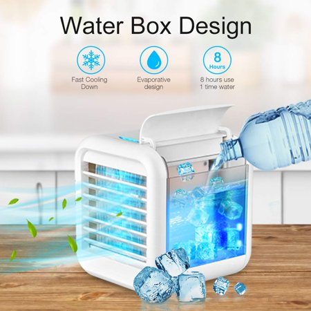 Ultra-Quiet Personal Air Cooler, USB Evaporative Coolers with Waterbox, Multifunctional Fan with LED Light and 3 Fan Speed, USB Charging, Suitable for Home Office Bedroom Kids - image 8 de 9