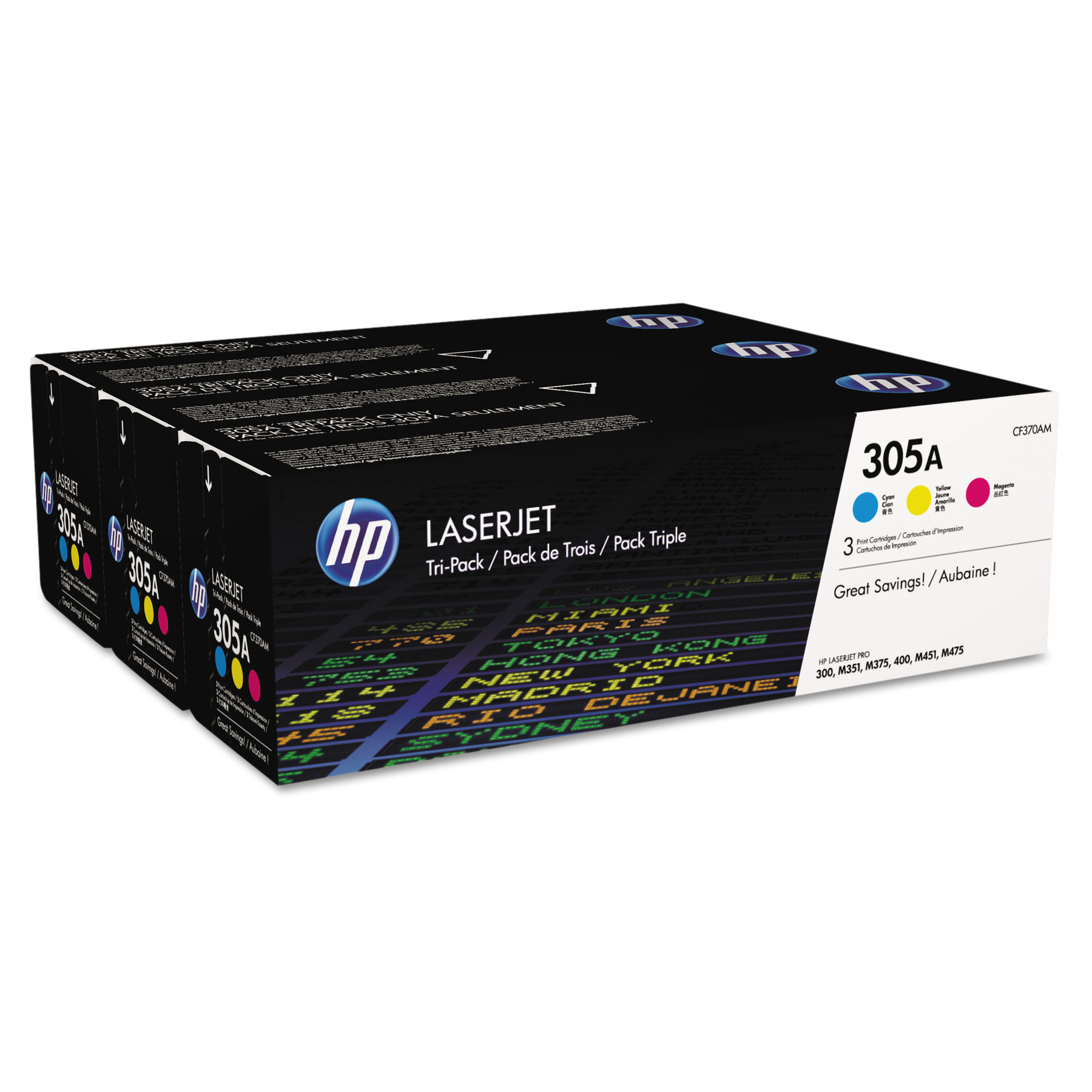 HP 305A, (CF370A-M) 3-pk Cyan/Magenta/Yellow Original LaserJet Toner Cartridges -HEWCF370AM