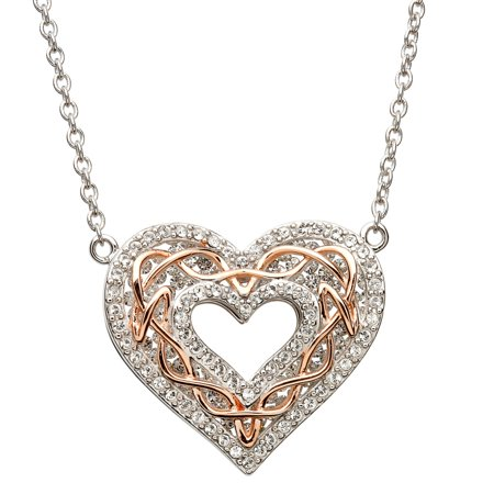 Celtic Heart with Rose Gold Knot with Crystals By Swarovski® ()