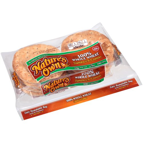 Nature's Own 100% Whole Wheat Sandwich Rounds, 12 oz
