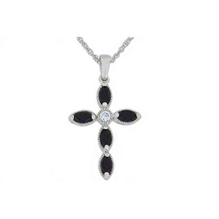 Onyx Buddha Pendant (1 Ct Genuine Black Onyx Cross Pendant .925 Sterling Silver Rhodium Finish)