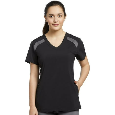Fit by White Cross Women's V-Neck Mesh Contrast Solid Scrub Top