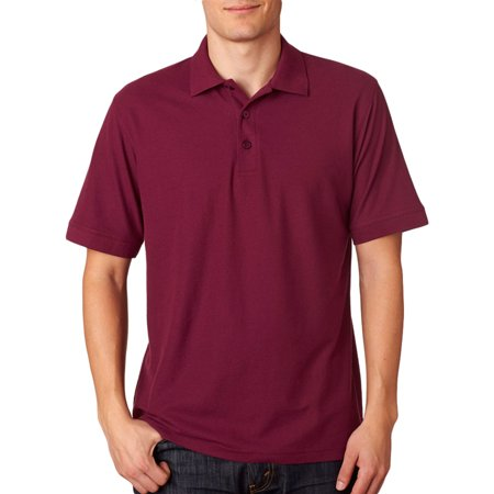 UltraClub Mens Basic Blended Knit Collar Pique Polo shirts, Maroon, 2XL, Style, 8560