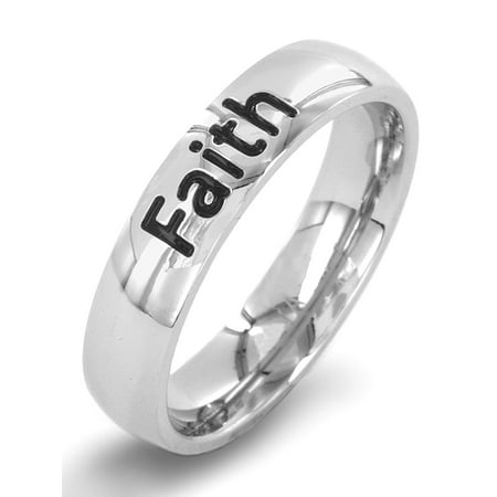 Inspirational Engraved 'Faith' Stainless Steel Ring (4.5mm) Engraved Purity Ring