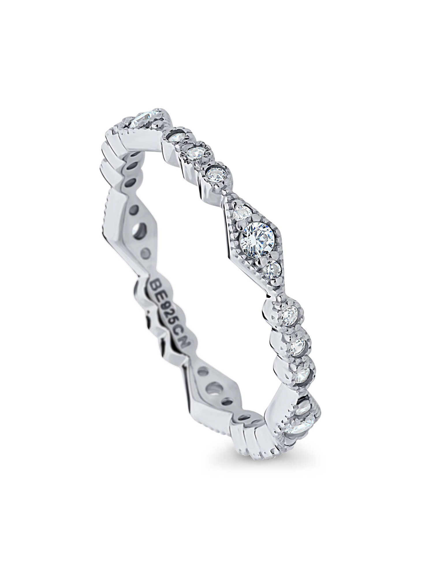 Princess Kylie Clear Cubic Zirconia Half Eternity Stackable Ring Sterling Silver
