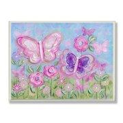The Kids Room by Stupell Pastel Butterflies in a Garden Oversized Wall Plaque Art, 12.5 x 0.5 x 18.5