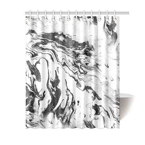 Black and White Shower Curtain Fabric Bathroom Set with Hooks 4 Sizes Available