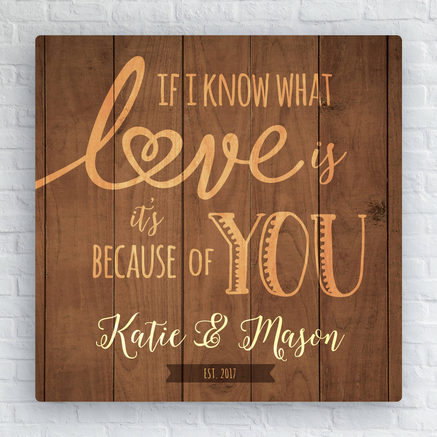 """If I Know What Love Is Personalized 12"""" x 12"""" Canvas"""
