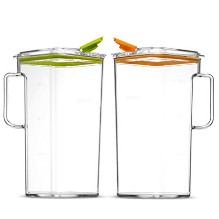 Komax Tritan BPA-Free Pitchers With Orange and Green Lids, Set of 2