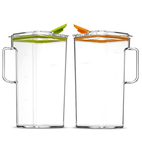 Komax Tritan BPA-Free Pitchers With Orange and Green Lids, Set of 2