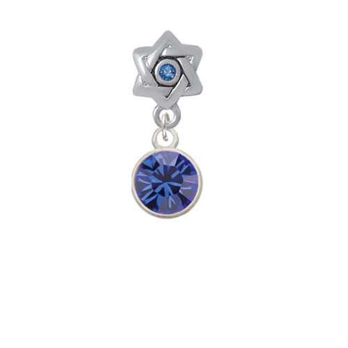 10mm Blue Oktant Crystal Drop - Star of David with Blue Crystal Charm Bead