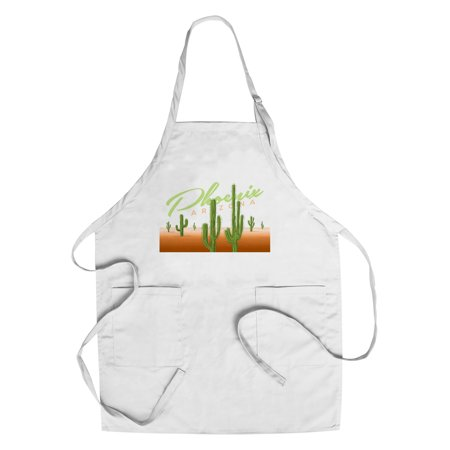 Phoenix  Arizona   Cactus   Vector   Lantern Press Artwork  Cotton Polyester Chefs Apron