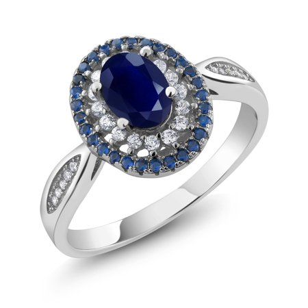 Blue Sapphire 925 Sterling Silver Women's Engagement Ring 1.62 Carat Oval Cut Sizes 5 to 9 ()