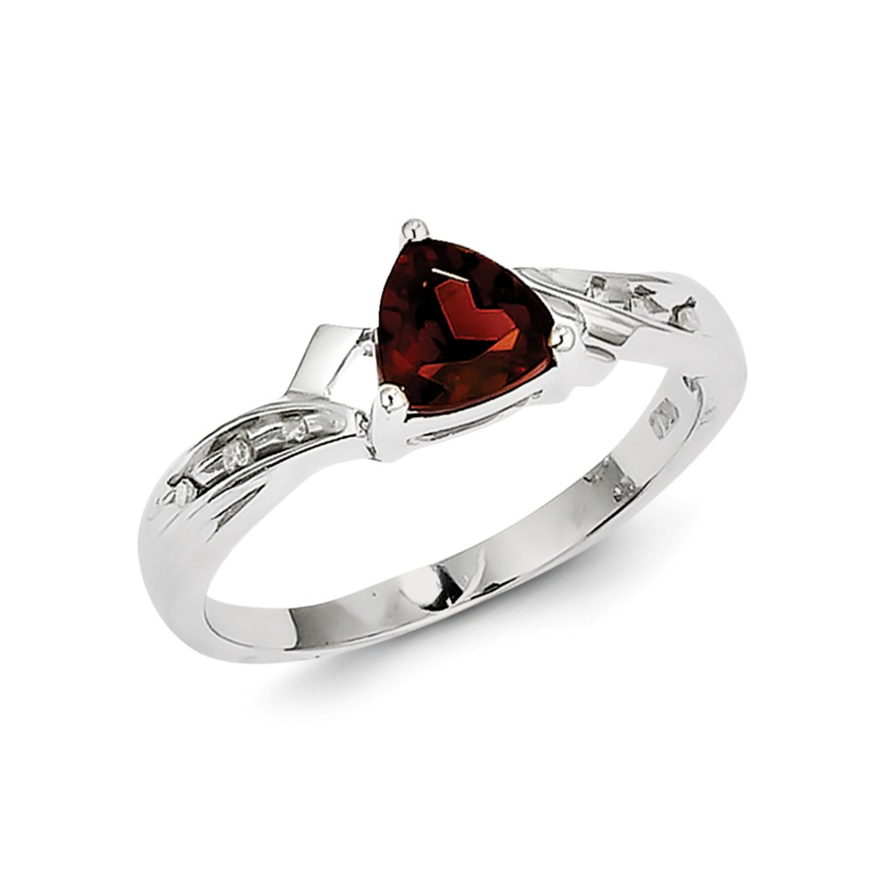 925 Sterling Silver (0.03cttw) Rhodium Plated Diamond and Garnet Heart Ring Size-6 by