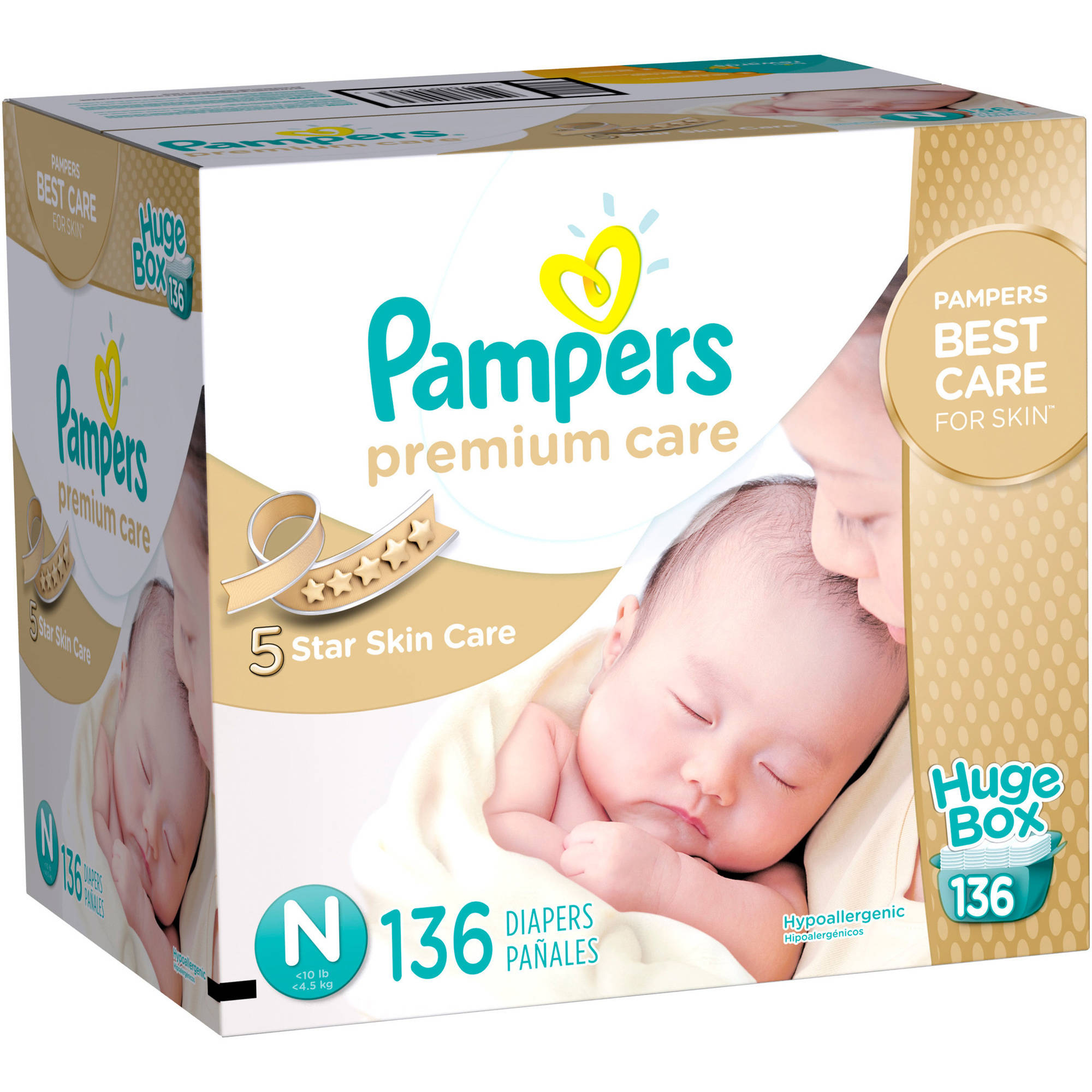 Pampers Premium Care Disposable Diapers, Huge Box, (Choose Your Size)