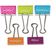 Teacher Created Resources, TCR20668, Chevron Large Binder Clips, 5 / Pack, Multi