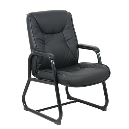Leather Office Guest Chair - Boss Office Products High-Back Leather Guest Chair with Arms, Steel Black Frame