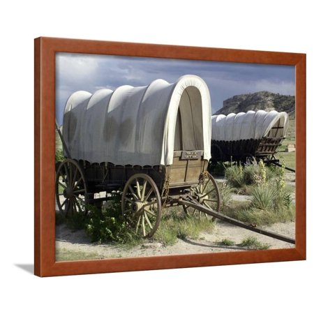 - Restored Covered Wagons at Scotts Bluff National Monument on the Oregon Trail in Nebraska Framed Print Wall Art