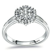 Beautiful 0.5 CTW Round Baguettes Diamond Gemstone 925 Sterling Silver Engagement Ring For Women By Diacrown