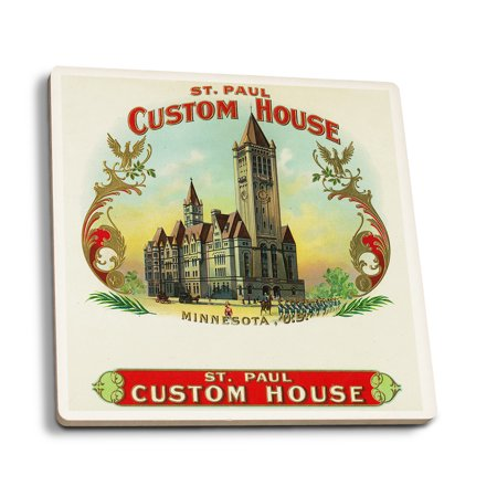 St. Paul Custom House Brand Cigar Box Label (Set of 4 Ceramic Coasters - Cork-backed, Absorbent) for $<!---->