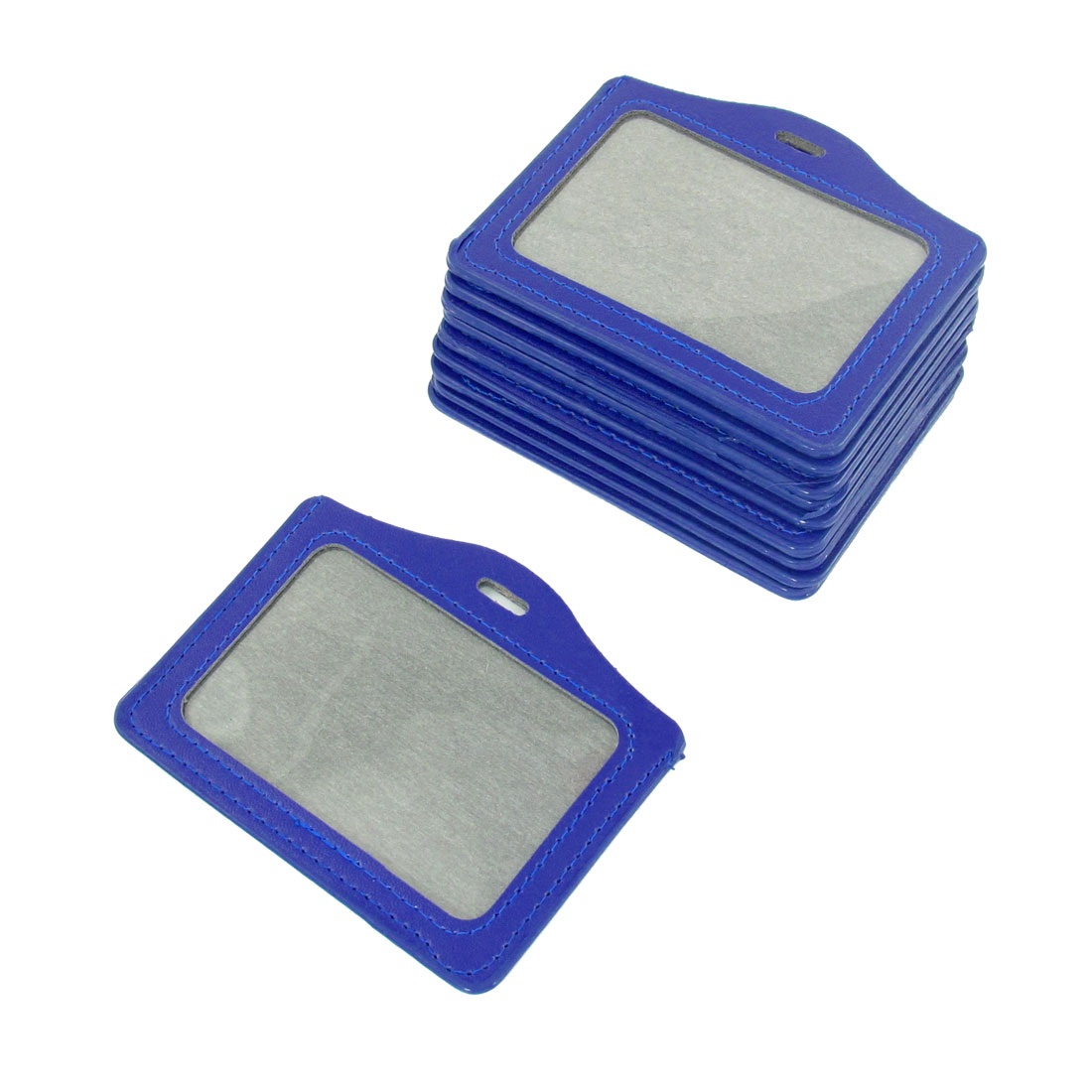 Unique Bargains Blue Faux Leather Organizer Business Badge Card Holder 10 Pcs