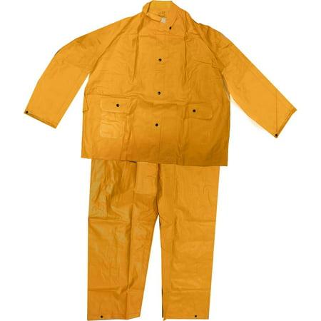 Men's 35 Mil Yellow Pvc Rainsuit - Pants & Jacket with Detachable Hood, 5XL (Lbd: RAIN-89040) - Hooded Jacket And Pants