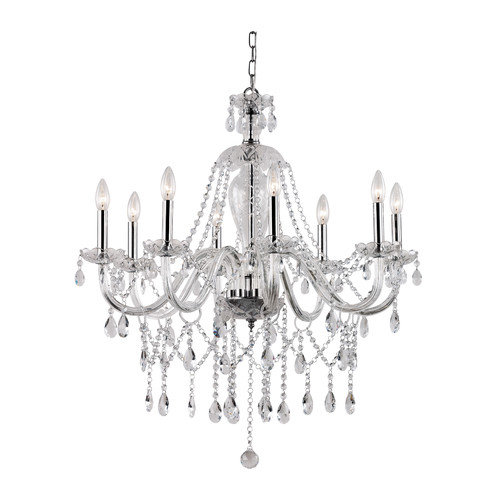 TransGlobe Lighting Crystal Fountain 8 Light Chandelier