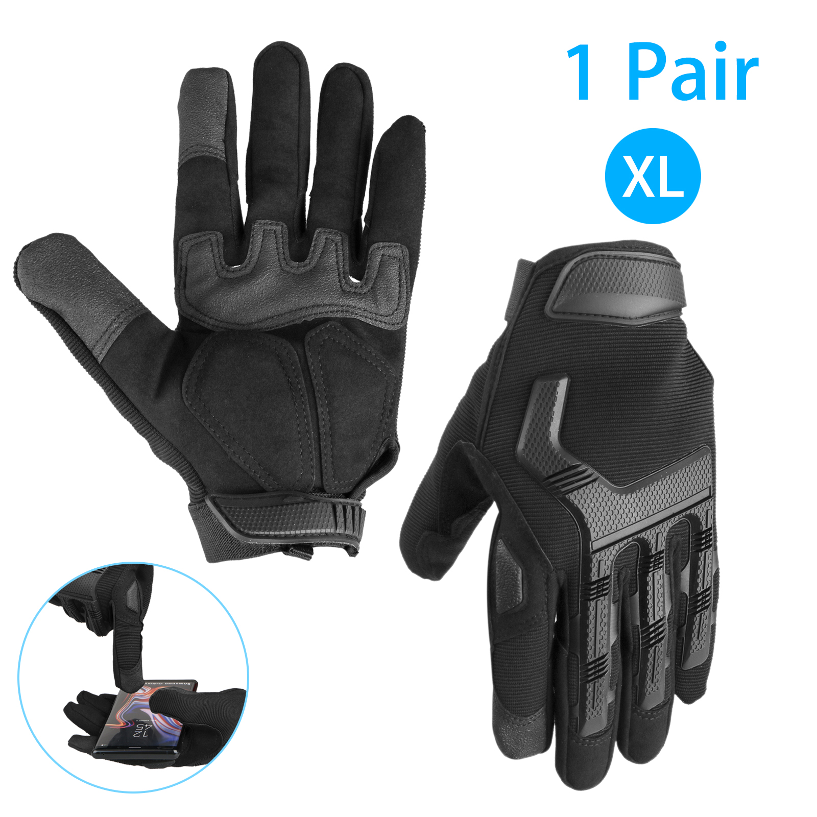 Motorcycle Gloves Tactical Gloves with Touchscreen Finger Leather and Hard Rubber Knuckle Guard, Military Airsoft Paintball Bike Cycling Climbing Hiking Hunting Shooting Work Gloves for Men Women