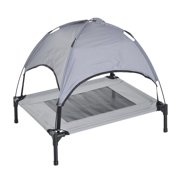 "Pawhut 30"" Elevated Cooling Dog Bed Cot w/ Canopy Shade - Gray"
