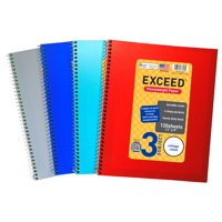 "Exceed Spiral Notebook, College Ruled, 3 Subject, 120 Sheets, 9"" x 11"", Color Choice Will Vary, 77693"