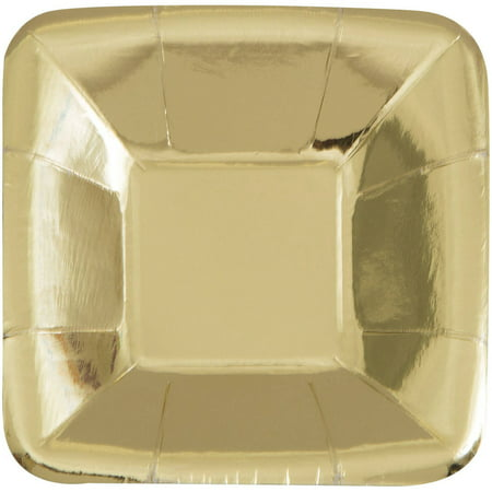 Square Paper Appetizer Plates, 5 in, Foil Gold, 8ct