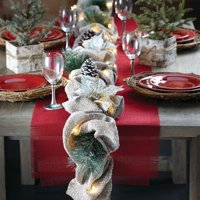 Holiday Time 9 Foot, Battery Operated, Natural Poinsettia Pine cone Lighted Garland
